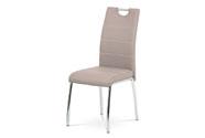 Jídelní židle, potah lanýžová ekokůže, bílé prošití, kovová čtyřnohá chromovaná