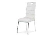 Jídelní židle, potah bílá ekokůže, černé prošití, kovová čtyřnohá chromovaná pod
