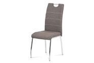 Jídelní židle, potah coffee látka, bílé prošití, kovová čtyřnohá chromovaná podn