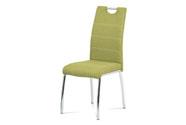 Jídelní židle, potah olivově zelená látka, bílé prošití, kovová čtyřnohá chromov