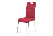 Jídelní židle, potah vínově červená látka, bílé prošití, kovová čtyřnohá chromov