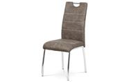 Jídelní židle, potah hnědá látka COWBOY v dekoru vintage kůže, bílé prošití, kov