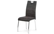 Jídelní židle, potah šedá látka COWBOY v dekoru vintage kůže, bílé prošití, kovo