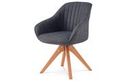 Jídelní a konferenční židle, potah šedá látka, nohy masivní buk v tmavším přírod