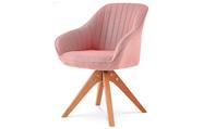 Jídelní a konferenční židle, potah starorůžová látka, nohy masivní buk v tmavším