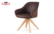Jídelní a konferenční židle, potah hnědá látka v dekoru broušené kůže, nohy masi