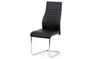 Jídelní židle, černá koženka / chrom