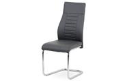 Jídelní židle, šedá koženka / chrom