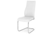 Jídelní židle, bílá koženka / chrom