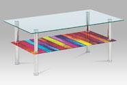 Konferenční stolek 100x60x43 cm, čiré sklo, police duha, nerez