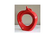 Keramické dekorační jablko, červená barva.