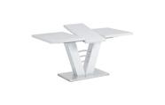 Rozkládací jídelní stůl 120+40x80 cm, bílý lesk / broušený nerez