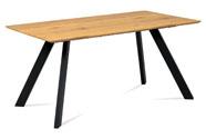 Jídelní stůl 160x90 cm, MDF dekor dub, kov černý mat
