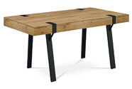 Jídelní stůl 150x90x75, MDF deska tl. 100 mm, 3D dekor divoký dub, kov černý mat