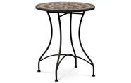 Zahradní stůl, deska z keramické mozaiky, kovová konstrukce, černý matný lak (ty