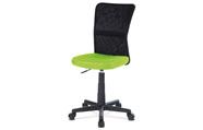 Kancelářská židle, zelená mesh, plastový kříž, síťovina černá
