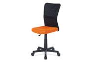 Kancelářská židle, oranžová mesh, plastový kříž, síťovina černá