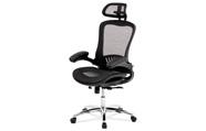 Kancelářská židle, synchronní mech., černá MESH, kovový kříž
