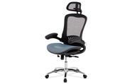 Kancelářská židle, synchronní mech., modrá MESH, kovový kříž
