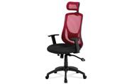 Kancelářská židle, synchronní mech., černá + červená MESH, plast. kříž
