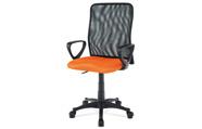 Kancelářská židle, látka MESH oranžová / černá, plyn.píst