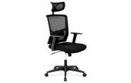 Kancelářská židle s podhlavníkem, potah černá látka a síťovina mesh, houpací mec