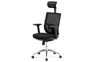 Kancelářská židle, černá látka / černá síťovina, hliníkový kříž, synchronní mech