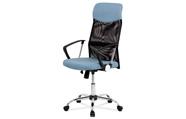 Kancelářská židle řady BASIC, potah modrá látka a černá síťovina MESH, houpací m