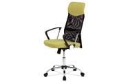 Kancelářská židle řady BASIC, potah zelenožlutá látka a černá síťovina MESH, hou