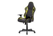 Kancelářská židle - černá ekokůže, zelená látka MESH, houpací mech., plastový kř
