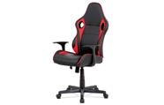 Kancelářská židle - černá ekokůže, červená látka MESH, houpací mech., plastový k