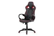 Kancelářská židle, černá-červená ekokůže, houpací mech, plastový kříž