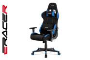 Kancelářská židle, modrá-černá látka, houpací mech, plastový kříž