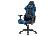 Kancelářská židle, modrá+černá ekokůže, houpací mech., plastový kříž