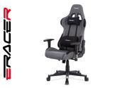 Kancelářská židle houpací mech., šedá + černá látka, plast. kříž