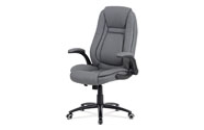 Kancelářská židle, potah šedá ekokůže, černý kovový kříž, houpací mechanismus, v