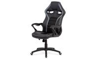 Kancelářská židle, potah černá ekokůže, černá a šedá látka MESH, černý plastový