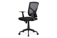 Kancelářská židle, černá MESH+síťovina, plastový kříž, houpací mechanismus