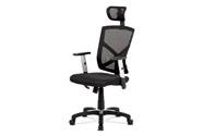 Kancelářská židle, potah černá látka MESH a síťovina, MESH, černý plastový kříž,