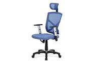 Kancelářská židle, potah modrá látka MESH a síťovina, MESH, černý plastový kříž,