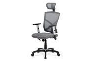 Kancelářská židle, potah šedá látka MESH a síťovina, MESH, černý plastový kříž,