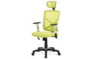Kancelářská židle, potah zelená látka MESH a síťovina, MESH, černý plastový kříž