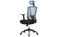 Kancelářská židle, černá MESH+modrá síťovina, plastový kříž, synchronní mechanis