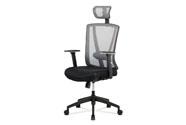 Kancelářská židle, černá MESH+šedá síťovina, plastový kříž, synchronní mechanism