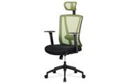 Kancelářská židle, černá MESH+zelená síťovina, plastový kříž, synchronní mechani