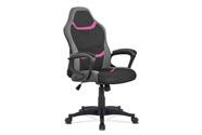 Kancelářská židle, potah - kombinace černé, šedé a růžové látky, houpací mech.