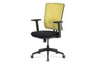Kancelářská židle, zelená síťovina+černá látka, synchronní mech, plast kříž