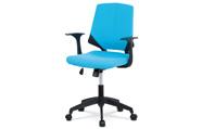 Juniorská kancelářská židle, potah modrá látka, černý plast, houpací mechanismus