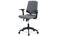 Juniorská kancelářská židle, potah šedá látka, černý plast, houpací mechanismus