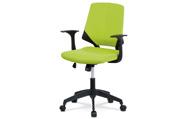 Juniorská kancelářská židle, potah zelenožlutá látka, černý plast, houpací mecha